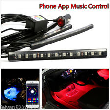 Car Interior Atmosphere Lamp Deco Neon 9LED Light Strip &Phone App Music Control