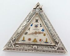 SUPER RARE ITRACO 17J .925 S/SILVER MASONIC TRIANGULAR SHAPED POCKET WATCH.
