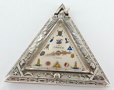 .SUPER RARE ITRACO 17J .925 S/SILVER MASONIC TRIANGULAR SHAPED POCKET WATCH.