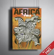 A3 Large AFRICA POSTER Vintage Retro Travel Wall Art Home Decor Zebra Picture
