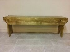 "Handmade Natural Wood Pine Sitting Bench 46"" Beautiful Rustic Stained Poly Coat"