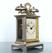 PFEILKREUZ Mantel Alarm TOP! Clock RARITY! Antique Germany Carriage Brass Chrome