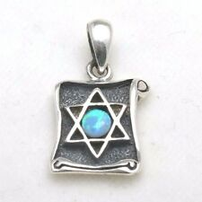 NEW 925 Sterling Silver Jewish star David Opalite Scroll Pendant Vintage Judaica