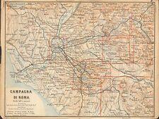 1897 BAEDEKER ANTICO MAPPA-ITALIA-CAMPAGNA DI ROMA