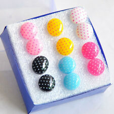 Candy Colors 6 Pairs Wholesale Lot Round Dots Earrings ED019