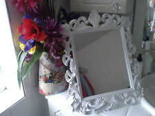 "large shabby chic mirror FREE STANDING MIRROR 19"" HIGH WHITE  COULD BE HUNG"