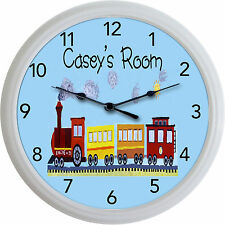 Train Choo Choo Caboose Wall Clock Child Nursery Engineer Personalized New 10""