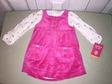 NEW CARTERS 9 MONTH 2 PIECE SET DRESS AND ONE PIECE WHITE PINK SILVER STARS