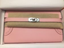 Authentic Brand New Hermes Kelly Long Wallet Ghillies Rose Sakura PHW