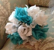 Silk Turquoise & White  Bridesmaid Bouquet, Or Can Be Designed In Your Colors