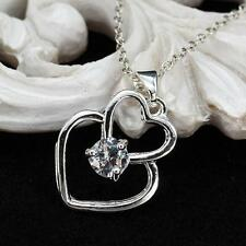 Silver Women Girls Double Heart Pendant Necklace Chain Xmas Gift