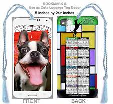Boston Terrier Goofy FUN SELFIE 2017 CALENDAR BOOKMARK-Cell Phone Puppy Art CARD