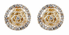 CLIP ON EARRINGS - gold flower earring with clear crystals - Heidi