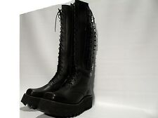 George Cox Black Leather Platform New Style Lace Knee High Boots Rock Goth UK 5