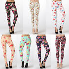 Woman Sexy Floral Print Ankle Tight High Waist Stretch Skinny Leggings Cotton