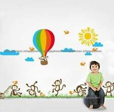 HUGE Happy Dancing Monkeys & Hot Air Ballon Wall Stickers Nursery Kids Room Deco