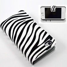 Zebra Line Skin Flip Card Wallet PU Leather Case Cover For Apple iPhone 4 4S 4G