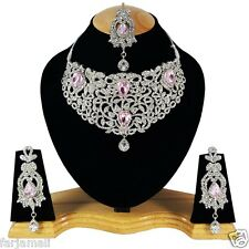 Silver Plated Party wear Kundan Zerconic Diamond Style Designer Necklace Set
