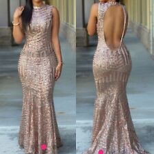 ELEGANT EVENING GOLD SEQUIN EMBELLISHED FISHTAIL MERMAID DRESS SIZE  10 12 14