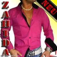 Herren Hemd Herrenhemd Pink Schwarz glanz Langarm Lack-Wet-Look S M L XL XXL NEU