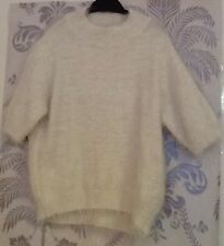 Women's White Fluffy Short Sleeve Crop Jumper In Size 8