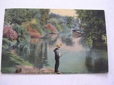Man Fishing Lagoon in Tenny Park Madison Wisconsin Postally used 1913 Post Card