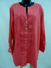 Plus Size 3X Top TUNIC Blouse PLEATED FRONT Shirt LINEN BLEND Long Length   NWT