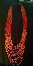 Coral beaded 16 layered necklace