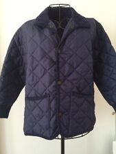 John Partridge Boys Navy Diamond Quilted Jacket Made in England Sz L