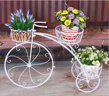 LARGE Garden Decor Metal Bike Bicycle French Provincial Pot Stand Planter White
