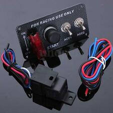 12V Ignition Engine Push Start Button Carbon Fibre Panel Racing 2 Toggle Switch
