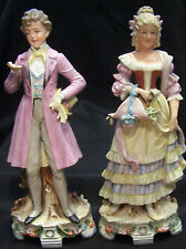 """GRAFENTHAL UNGER SCHNEIDER FIGURINE COUPLE Germany 1850-1899(Lady """"as-is"""")"""