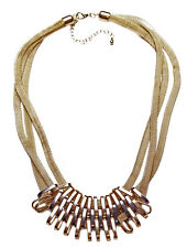 STRIKING THREE STRAND MESH EFFECT GOLD NECKLACE METAL CLASP FEATURES (ZX55)