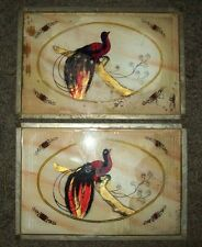 Pair of Antique/Vintage Reverse Painted Glass Metal Serving/Bed Trays w/Handles