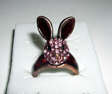 Bunny Ring Hase Rabbit Rockabilly Ohren Strass sweet Blingg!! Rosa