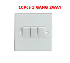 10 x  3Gang 3 Gang Triple Light Switch 2 Way White Plastic New
