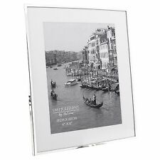 "Narrow silver plated 6"" x 8"" photo frame with white mount border FS16068"