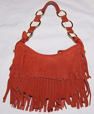 Vintage Great American LeatherWorks Boho Fringe Brown Handbag Bag Purse Hippie