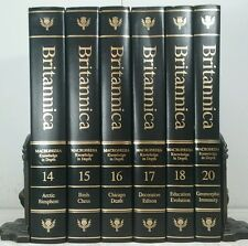 2005~ENCYCLOPEDIA BRITANNICA~TALL Modern BLACK GOLD 6 Book Lot~Decorative Set