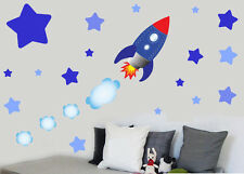 Childrens Rocket Ship Space & Stars - Wall Art Stickers Decals Spaceship Sky
