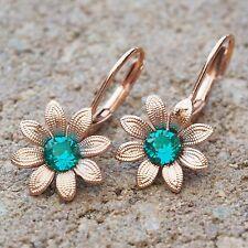 NUOVO Fiori Orecchini oro rosa pietre Swarovski Blue Zircon/Blu-Verde Orecchini