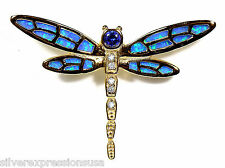 18K Gold Plated 925 Sterling Silver,Tanzanite & Blue Fire Opal Dragonfly Pendant