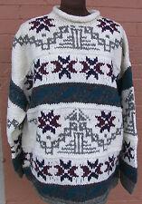 NEW Hand Knit Wool Sweater from Ecuador, Pyramid & Wave & Burst Design, XL & L L