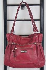 TIGNANELLO RED EMBOSSED LEATHER TOTE BAG