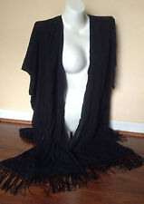 Victorias Secret Black Viscose Fringe Caftan Swim Beach Cover-Up Large NWT(A339)