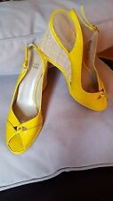 STUART WEITZMAN YELLOW PATENT LEATHER ESPADRILLE PEEP TOE WEDGE SANDALS 8M NEW