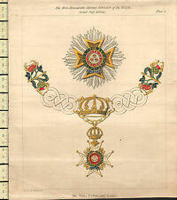1818 GEORGIAN PRINT ~ HONOURABLE MILITARY ORDER OF THE BATH GRAND CROSS COLOURED