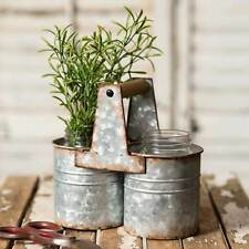 weathered galvanized Can Caddy with Two Jars with carry handle