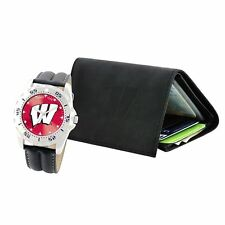 NCAA University of Wisconsin Badgers Men's Watch & Tri-Fold Wallet Gift Set