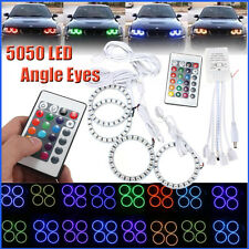 4x 70MM RGB 5050 Multi-color Flash SMD LED Angel Eyes Halo Ring Bulbs Remote kit